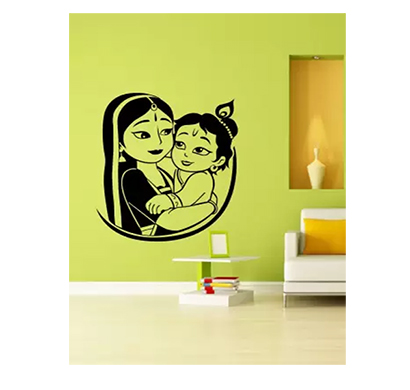 enormous kart cute kanha with mother on wall medium spiritual sticker (pack of 1)