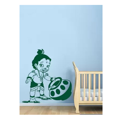 enormous kart natkhat krishna on wall medium spiritual sticker (pack of 1)