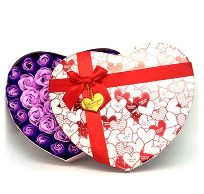 urban chakkar purple large heart shape artificial rose box - assorted