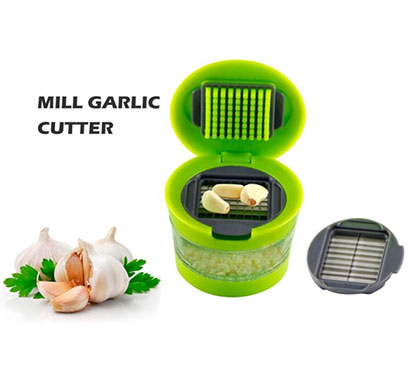 vaibhavi plastic garlic press mini garlic cutter, crusher and chopper, green