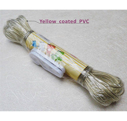 vaibhavi pvc coated steel rope anti-rust wire rope for hanging clothes with 2 plastic hooks multi color