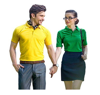 vinson collar h/s t-shirts yellow and green colour
