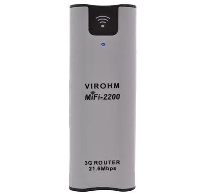 virohm mifi-2200 wifi 3g router with 2200mah power bank (white)