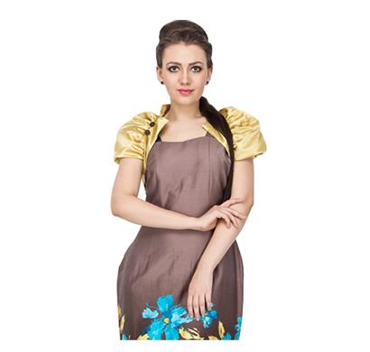 vodka fashion india dress satin cotton bodice with satin bolero jacket side zipper closure (multicolor)