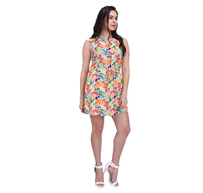 waisted multi colour tie up dress