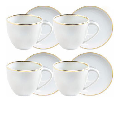 white and gold cup saucer set (set of 4)