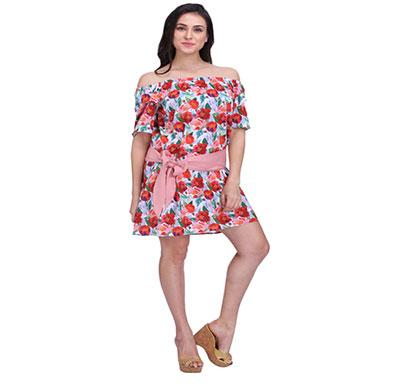 women multi floral off shoulder dress with sash