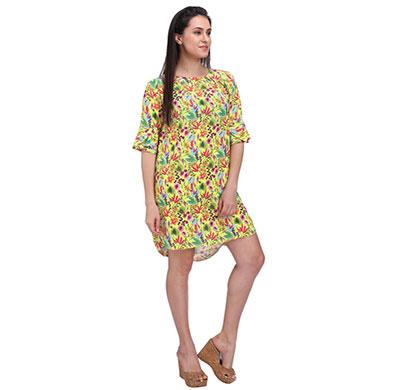 women floral yellow shift dress