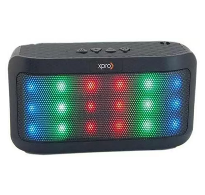 xpro radiant all in one wireless (bluetooth) speaker with fm radio & selfie shutter button/ dancing led lights/ 1 year warranty/ black