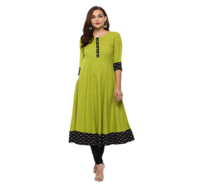 yash gallery womens cotton slub printed anarkali kurta (green)
