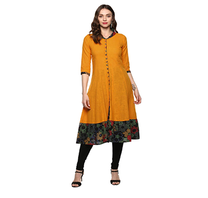 yash gallery women's cotton slub anarkali kurta (mustard)