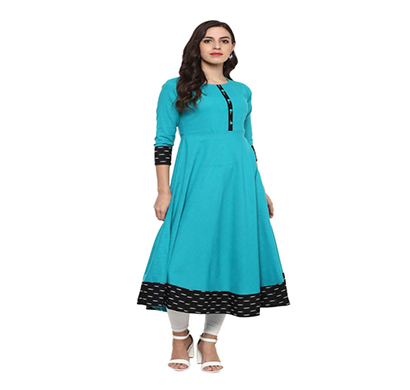yash gallery womens cotton printed anarkali kurta (firozi)