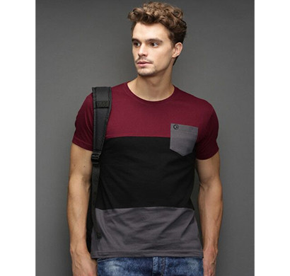 yellow tree half sleeves cotton t-shirt (maroon & black)