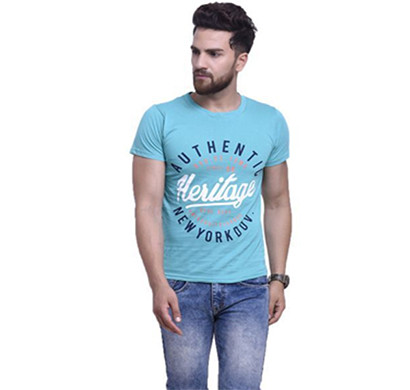 yellow tree half sleeves cotton t-shirt (blue)