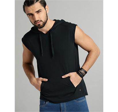 yellow tree hood sleeves less cotton t-shirt (black)