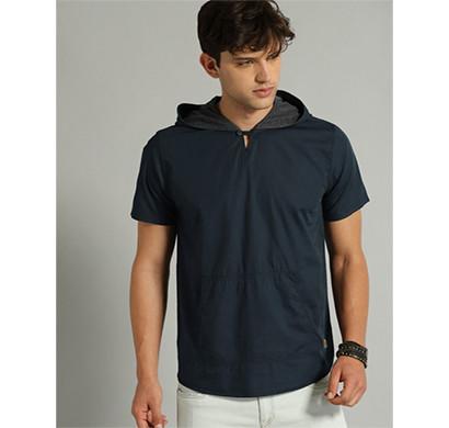 yellow tree half seelves hood cotton t-shirt (nevy blue)