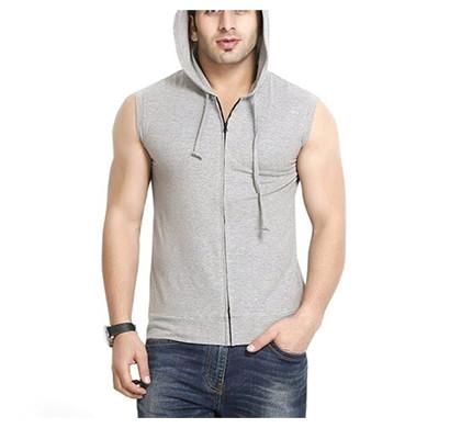 yellow tree sleeves less hood cotton t-shirt (gray)