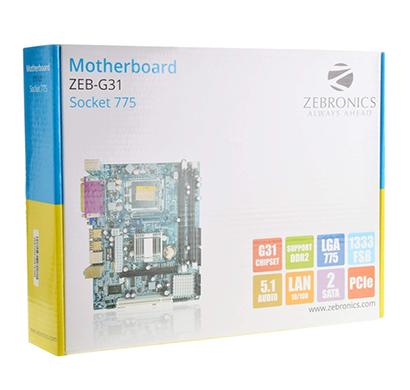 zebronics motherboard zeb-g31 socket 775/ blue/ 1 year warranty