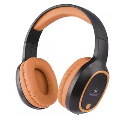 zebronics zeb-thunder bluetooth headset with mic (orange, over the ear)