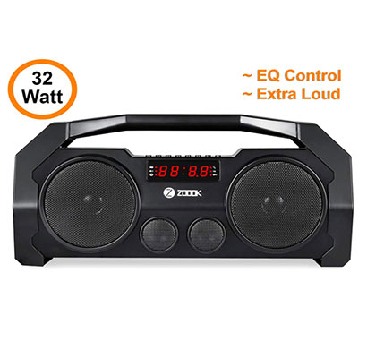 zoook rocker boombox 32w bluetooth speaker with fm/usb/tf/display/handsfree calling/party speaker (black)