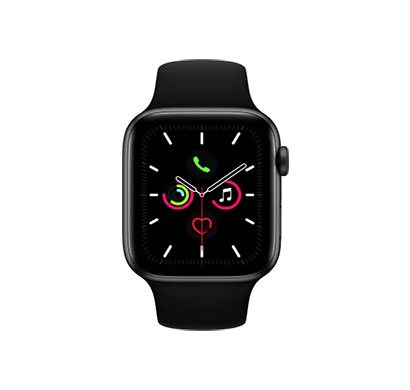 apple watch series 5 ( mwwe2hn/a) gps + cellular 44 mm space grey aluminium case with black sport band (black strap, regular)