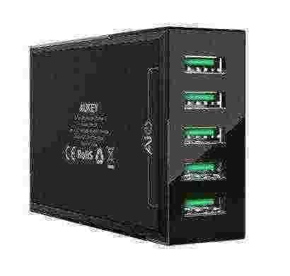 aukey pa-u37 5 port 25w usb charging station