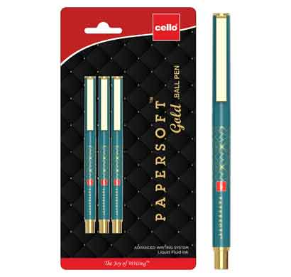 cello papersoft gold ball pen (cel1009547)