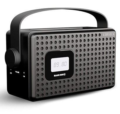 corseca (dms3013) black boy 3 wireless bluetooth speaker with fm radio customizable alarm aux and usb port (copper and black)