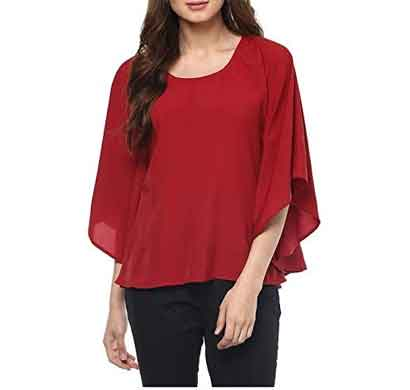 daisy look women's basic casual red bell sleeves top (wrbst1)