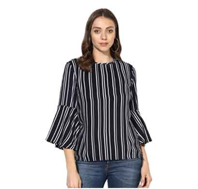 daisy look women's striped bell sleeves top black and white (sbst3)