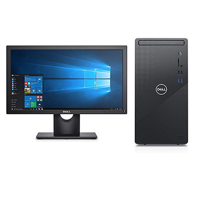 dell inspiron 3880 desktop (intel core i3/ 10th gen/ 4gb ram/ 1tb hdd/ windows 10 home + ms office/ no dvd/ 20 inch monitor/ 3 year warranty) black