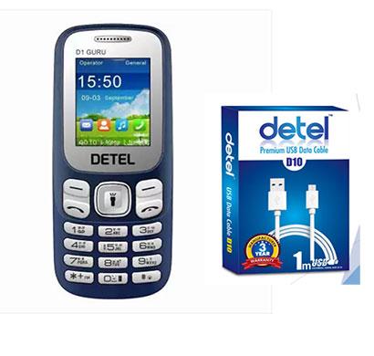 detel d1 guru mobile + d10 micro usb to full-size usb cable combo