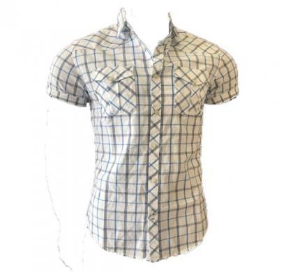 dnm x slim fit casual shirt 100% cotton yd checked - white