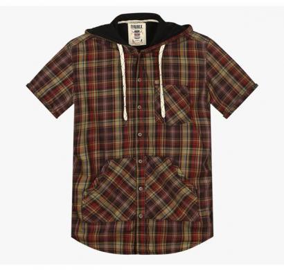 dnm x slim fit shirt with split kangaroo pocket - khaki