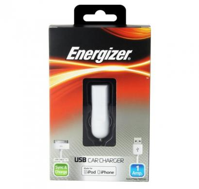 energizer classic car charger 1 usb for iphone 3/4 white