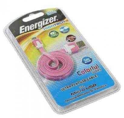 energizer hightech ultra flat  micro-usb cable charge + data - pink