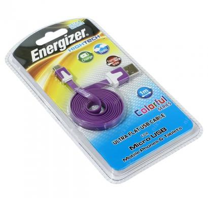 energizer hightech ultra flat  micro-usb cable charge + data - purple