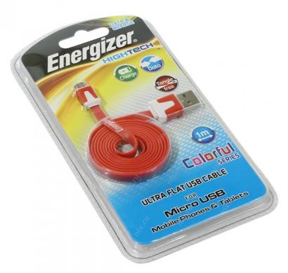 energizer hightech ultra flat  micro-usb cable charge + data - red
