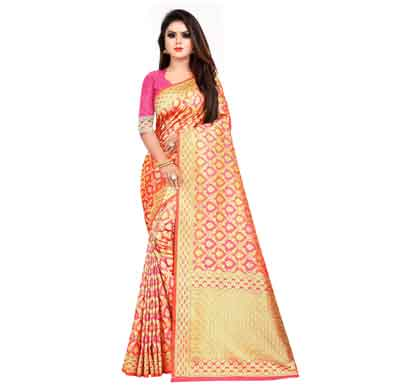 flareon women's banarasi silk saree with blouse piece (101d) rani