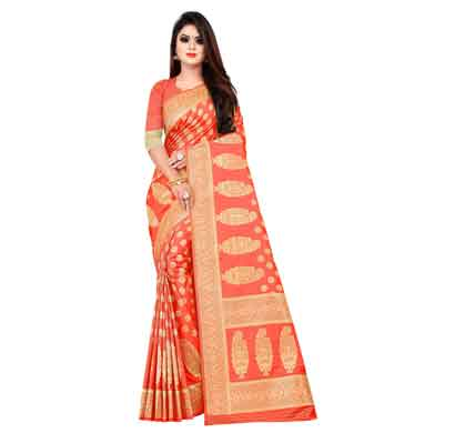 flareon women's banarasi silk saree with blouse piece (102a) gajari