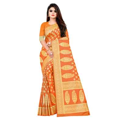 flareon women's banarasi silk saree with blouse piece (102b) mustard