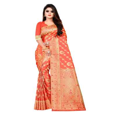 flareon women's banarasi silk saree with blouse piece (103a) gajari