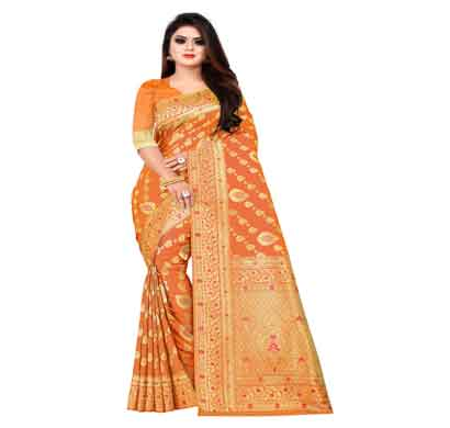 flareon women's banarasi silk saree with blouse piece (103b) mustard