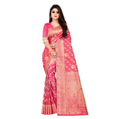 flareon women's banarasi silk saree with blouse piece (103d)
