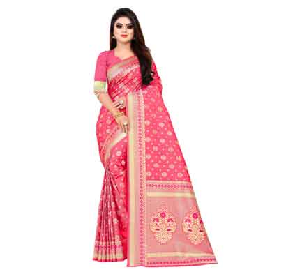 flareon women's banarasi silk saree with blouse piece (104b) rani