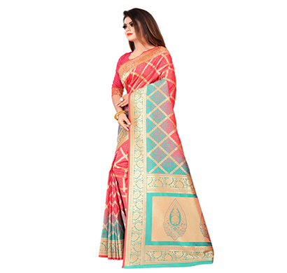 flareon (245a-gajari) women banarasi silk saree with blouse piece