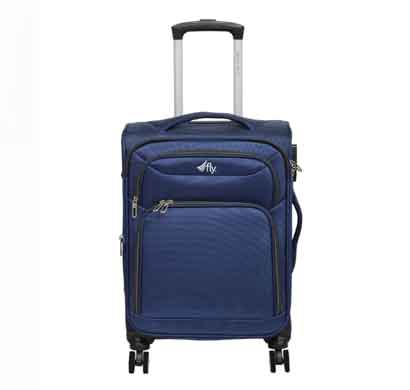 fly legend 56 cms navy blue nylon cabin luggage 8 flight wheels soft trolley suitcase