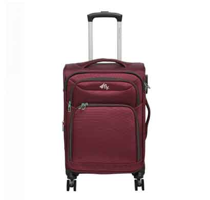 fly legend 67 cms brown nylon check-in luggage 8 flight wheels soft trolley suitcase