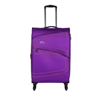 fly splash 59 cms purple nylon cabin 4 wheels soft trolley luggage suitcase