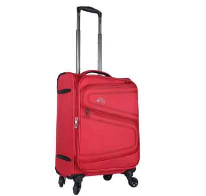 fly splash 59 cms red nylon cabin 4 wheels cabin soft trolley luggage suitcase